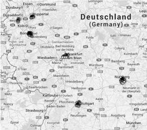 Georeferenzierung der bereits gefundenen Teilnehmer (Deutschland)